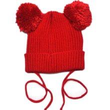 Bnaturalwell pom pom chapéu de Malha da criança do bebê Da Criança crianças malha chapéus meninas chapéu com pom Pom Chapéu gorro Orelha de Rato toque 1 pc H005