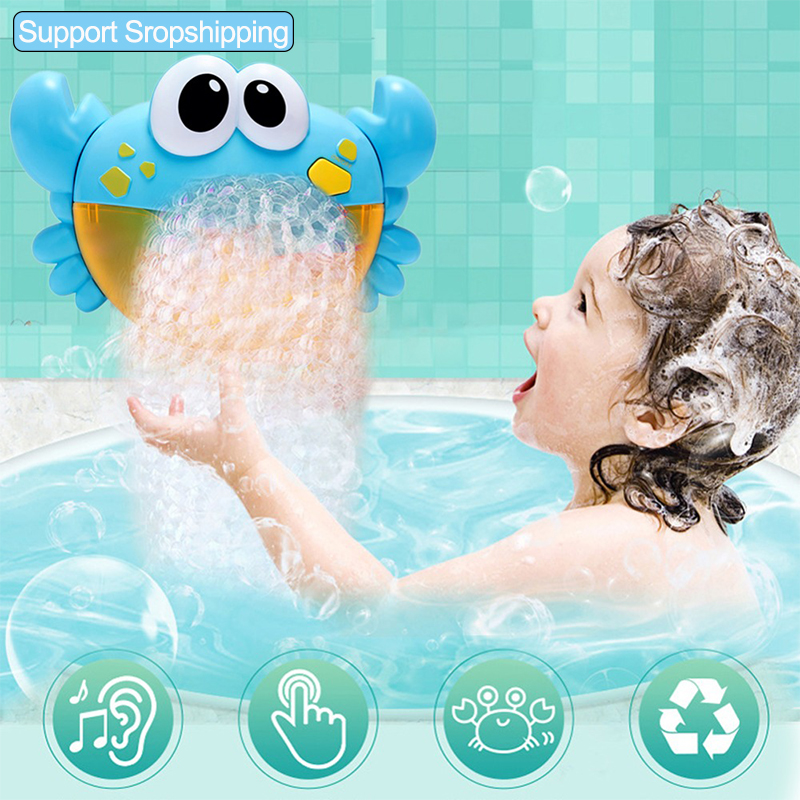 Bubble Machine Crabs Music Light Electric Bubble Maker Baby Kids Outdoor Swimming Bathtub Soap Machine With Music Water Toy Cute
