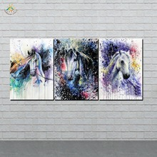 Abstract Art Horse Oil Decoration Canvas Wall Pictures Prints Painting  Artwork Home Decor 3 Pieces