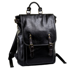 купить Fashion Leather Backpack Men Backpack Male Big Size School Backpack Travel Bag Large Capacity Leather rucksack Big Black дешево