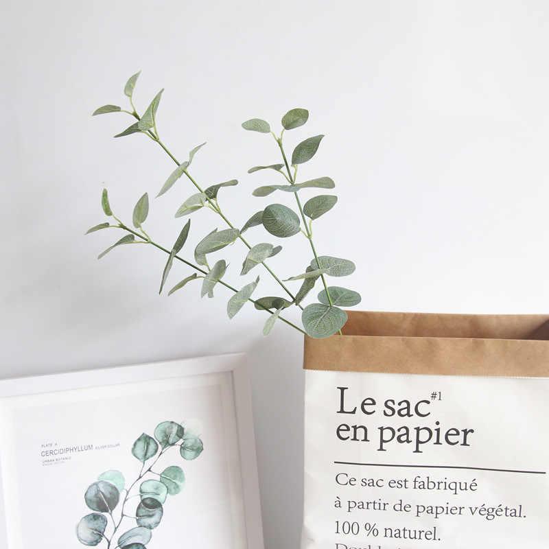 أوراق الحرير الأوكالبتوس الاصطناعي الأخضر يترك للزينة الزفاف wreبها بنفسك إكليل هدية سكرابوكينغ الحرفية أبل النباتات ورد صناعي