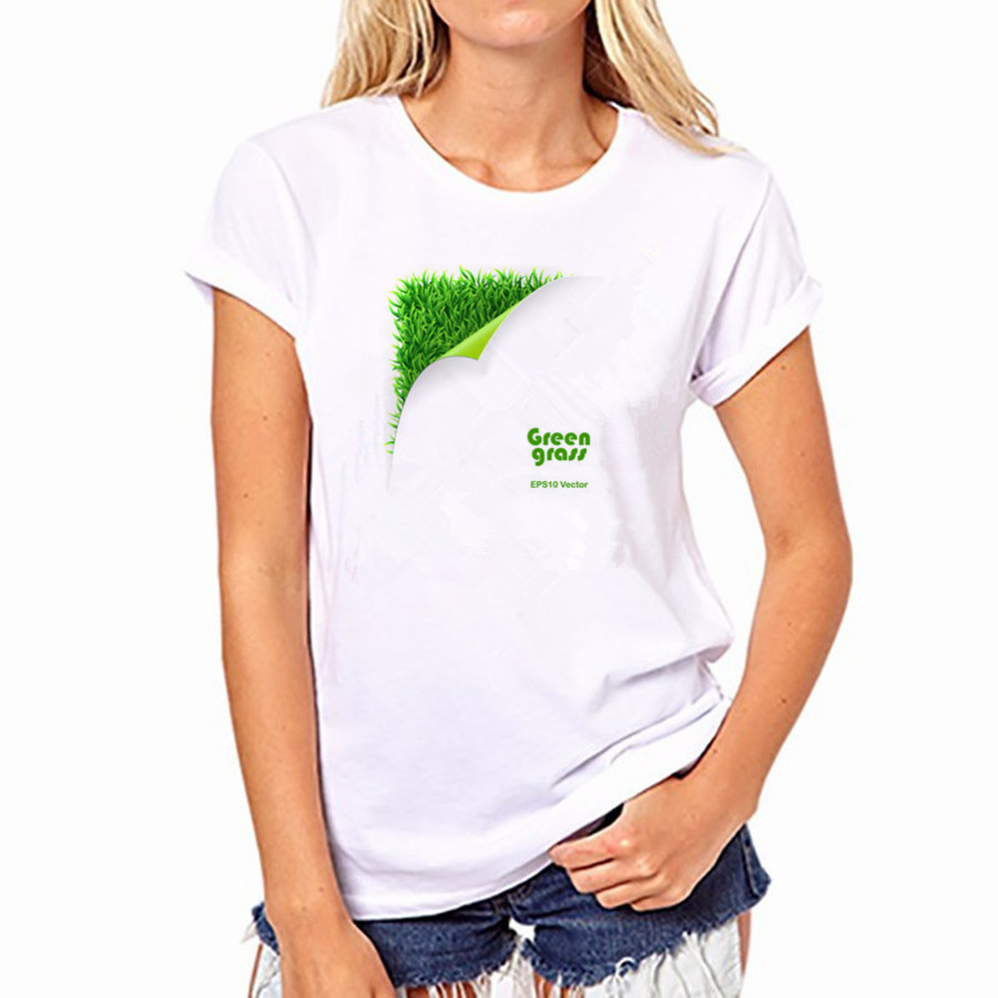 2016 Women Cotton T-shirt Casual Green Grass 21 Colors Print Short Sleeved Round Neck Women Top Shirt YH-W-21