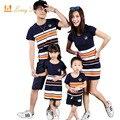 Olhar de Moda Listrado Verão T-shirt Roupas família Roupas Combinando Vestidos de Mãe E Filha Pai E Filho Bebê Da Menina Do Menino