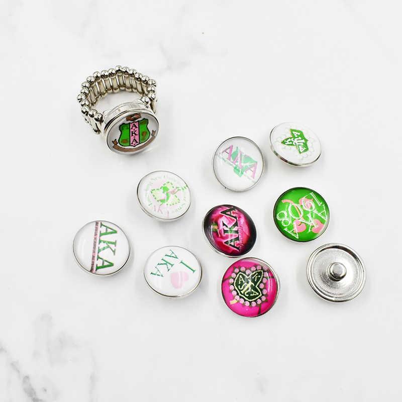הצמד כפתור AKA אלפא Kappa אחוות קסמי Fit 18MM הצמד כפתור תכשיטי זכוכית AKA כפתורי הצמד קסמי
