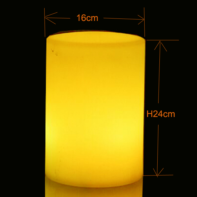 D16*H24cm Cylindrical Flickering Flameless Pillar LED Tealight Candle Night Lights Lamp Battery Operated For Wedding Party 10pcs