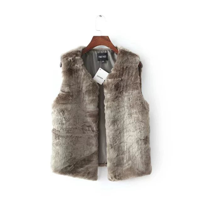 2016 Winter Ladies Faux Rabbit Fur Waistcoat Pink Blue Khaki Cardigan Women Sleeveless Vest Coat Jacket