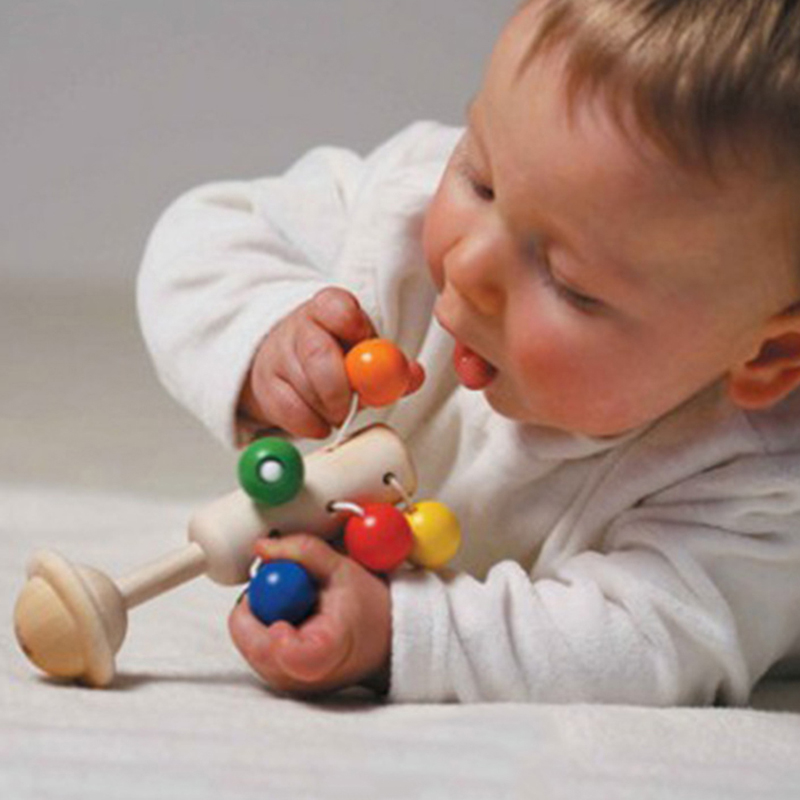 Wooden Baby Rattle Bell Toy Handbell Colorful Ball Molar Rattle Baby Toys For Baby Sound Music Baby Rattles