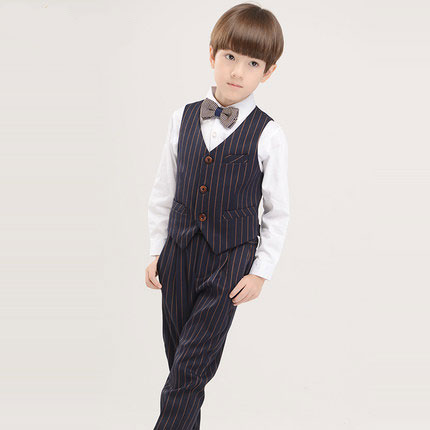 (Vest+shirt+bow tie+pant) New summer clothing sets kids Top boys Flower girl stripe kids clothes children School uniforms suit