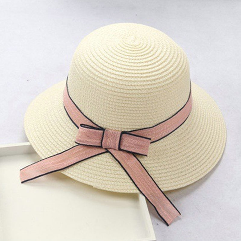 Nieuw Zonnebrandcrème kind baby Meisje volwassen vrouw Dames zomer hoed Britse retro boog prinses curling stro strand Grote rand hoed lm18