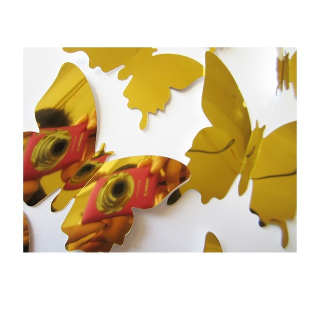 12pcs 3d mirrors butterfly wall st