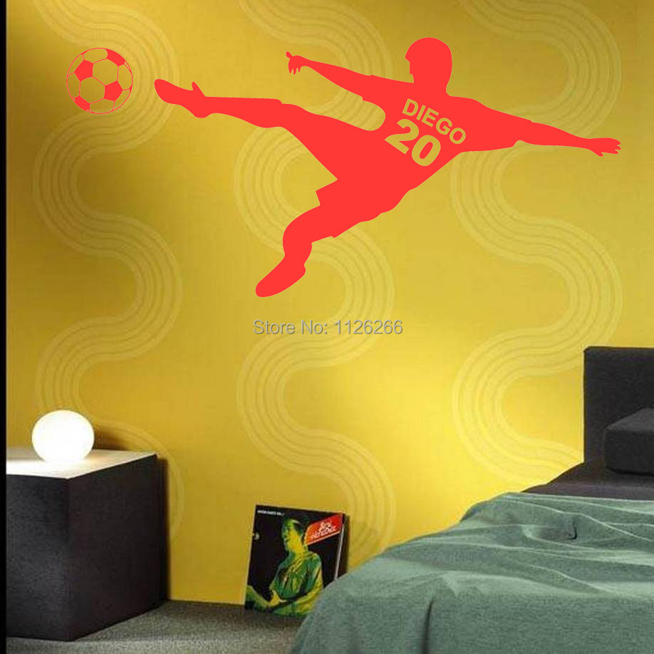 Customer made Name and Number Soccer Wall Stickers Personalized ...