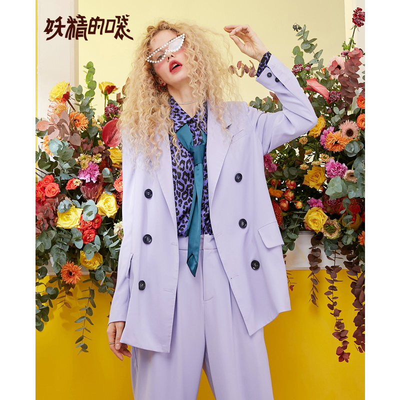 ELF SACK New Casual Woman Blazer Solid Double Breasted Blazer Woman Character Print Femme Coat Streetwear