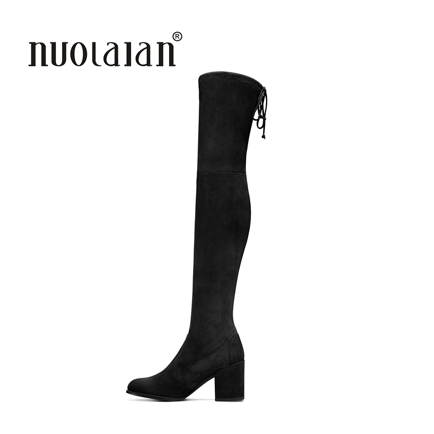 2018 Autumn Winter Women Boots Stretch Faux Suede Slim Thigh High Boots Fur Warm Over the Knee Boots High Heels Shoes Woman joyhopy autumn winter over the knee boots women wedges platform thigh high boots rivet woman high heel thin leg stretch boots