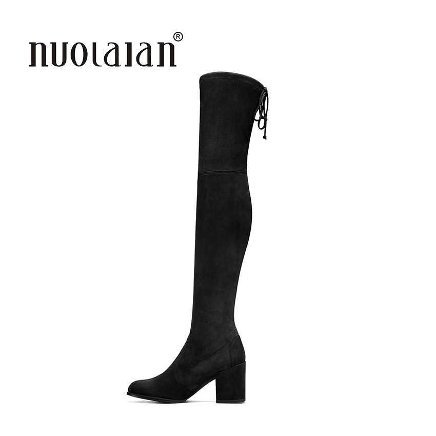 2018 Sonbahar Kış Kadın Çizmeler Streç Faux Süet İnce Uyluk Yüksek Çizmeler Kürk Sıcak Diz Çizmeler üzerinde Yüksek Topuklu ayakkabı Kadın