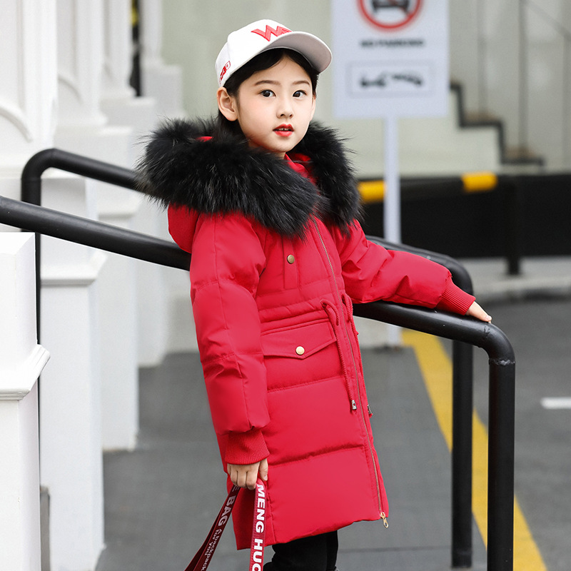 2018 New Red Children Winter Jacket Girl Winter Coat Kids Warm Thick Fur Collar Hooded Long Down Coats For Teenage 6 8 10 12 14 christmas cotton padded parkas teen winter coat girl long red pink black hooded warm winter jacket for girl 6 years 8 10 12 14