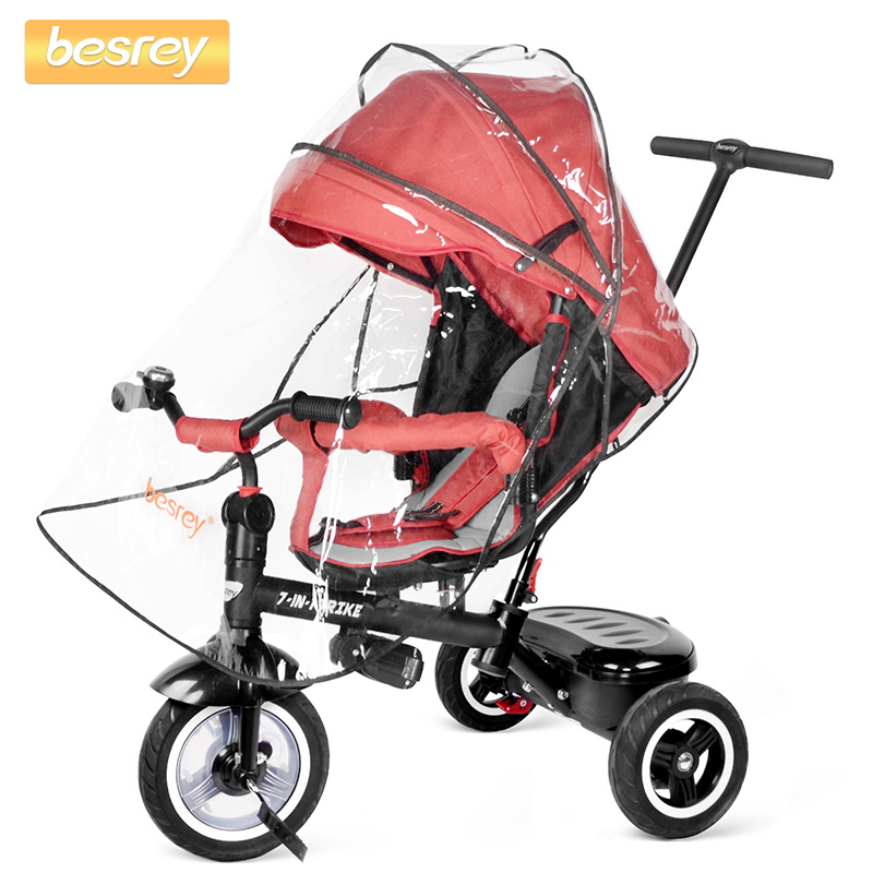 Besrey Kids Trike 7 in 1 Baby Tricycle Three wheeled Stroller Push with Rotating and Reclining