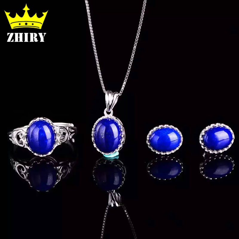 все цены на Natural Blue Lapis Lazuli Gem Jewelry Set Women Pendant Necklace With a Chain Earrings Genuine 925 Sterling Silver
