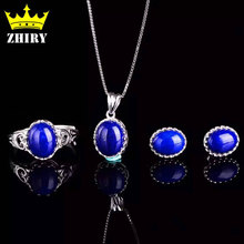 Natural blue lapis lazuli gem Jewelry set Women pendant necklace with a chain earrings Genuine 925 sterling silver gold plated