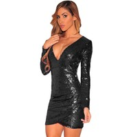 Ruched Sequin Fabric Women Sexy Night Club Dress With Long Sleeves 2017 Hot Sale Beautiful Classic