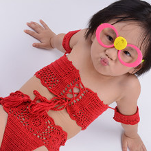 2019 New Summer Girls Crochet Elastic Bandage Swimsuit Girls Split Two-pieces Swimwear Children Solid High Waist Bikini Wholesal(China)