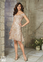 Elegant Beaded Short Knee Length Champagne Lace Mother of the Bride Dresses 2015 Plus Size Cheap Custom Made For Weddings