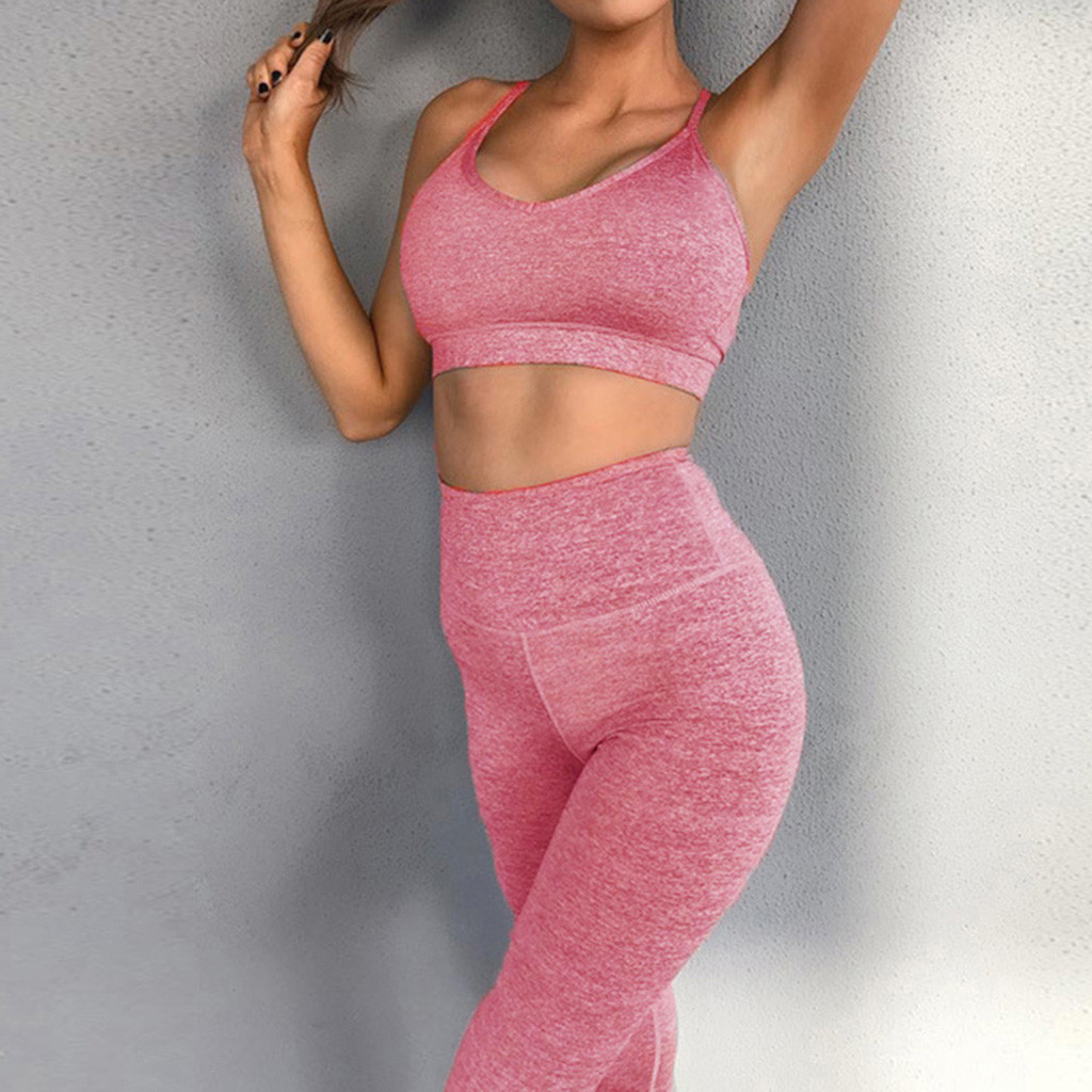 Women Yoga Set Seamless Leggings For Fitness Gym Pants Sport Bra Sleeveless Crop Top Workout Clothing Suit Running Sportswear#3