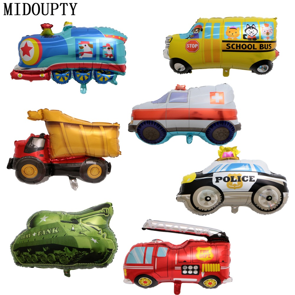Foil Balloons Cartoon Vehicle Tank Train Fire Truck Baby Shower Birthday Party