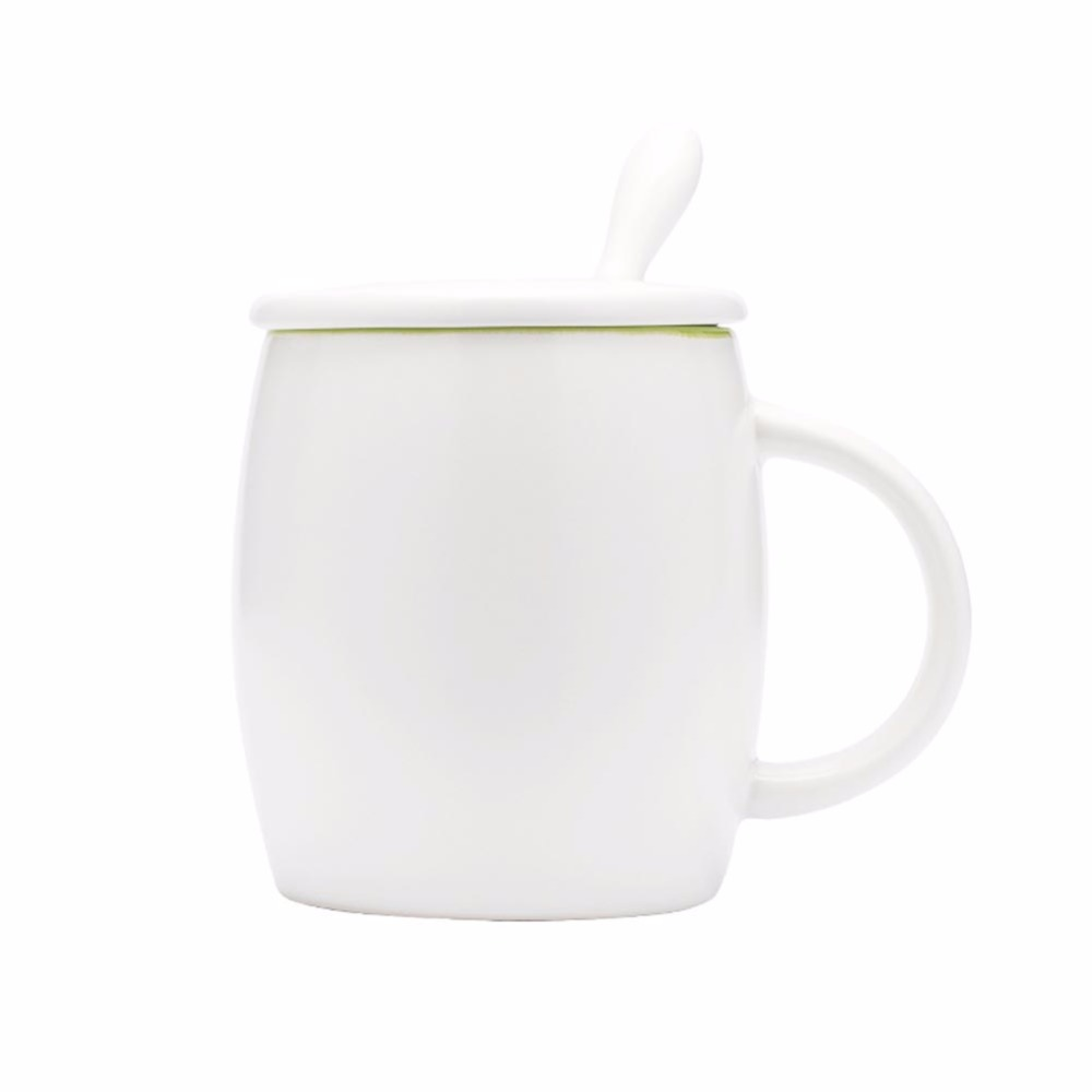 Handmade Ceramic cup Coffee Mugs Tea Cup Drinkware -Barrel Mugs Lid and Spoon Creative Gift