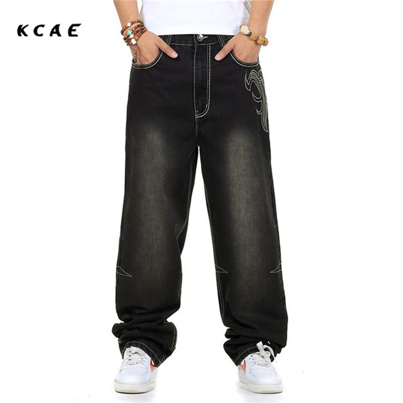 Jeans men baggy black casual rap jeans loose pants hip-hop loose style hip hop jeans for boy big size waist 30-46 картридж для принтера hi black hp q5949x q7553x black