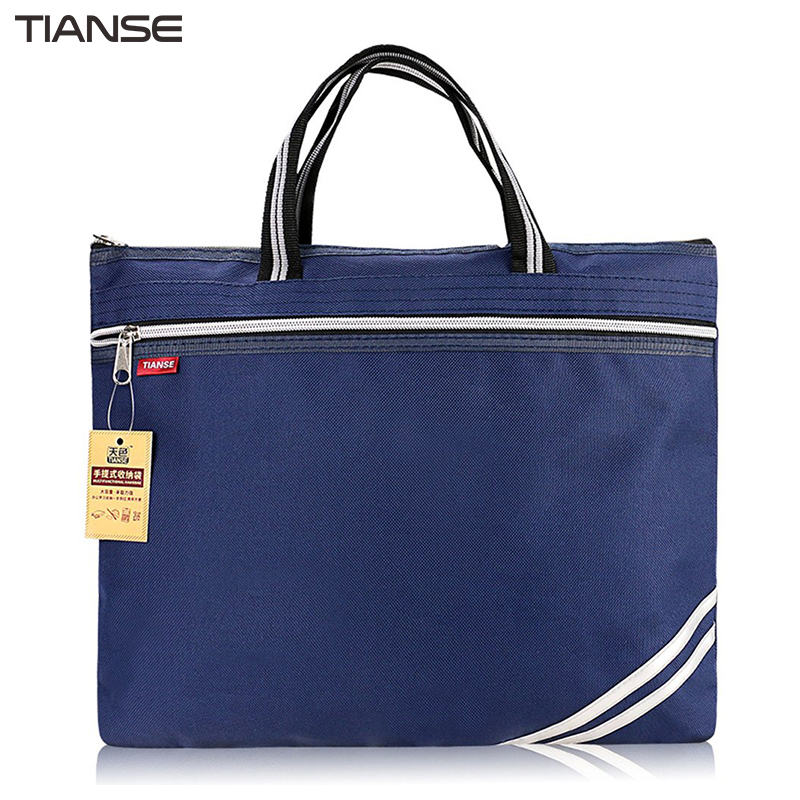 все цены на TIANSE Oxford Cloth Briefcase Business Men Ladies Portable Zipper PU Leather File Bag Double Deck Data Package онлайн