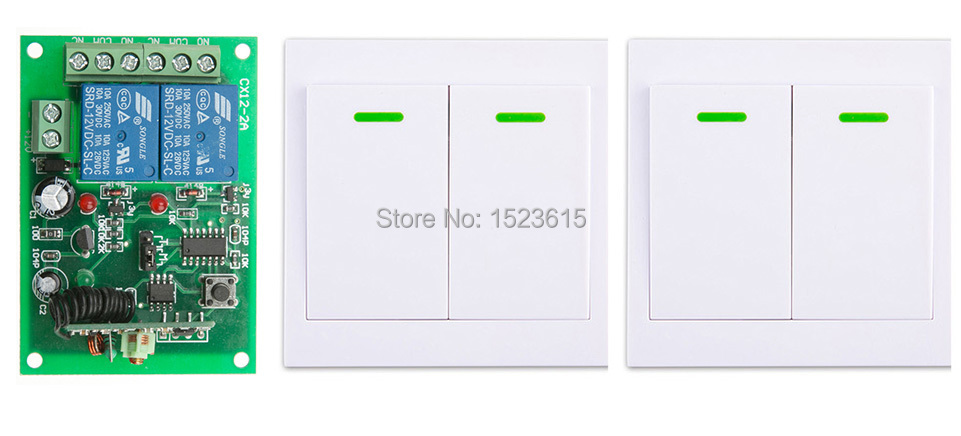 Digital Remote Control Switch DC12V 2CH Receiver +2*Wall Transmitter Wireless Power Switch 315MHZ Radio Controlled Switch Relay fk 922a 2 ch family use digital wireless remote control switch white