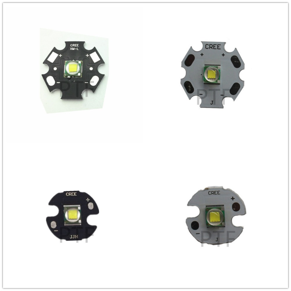 2PCS CREE XML XM-L T6 LED U2 10W WHITE (6500K-7000K) High Power LED Emitter With 16mm 20mm PCB For DIY