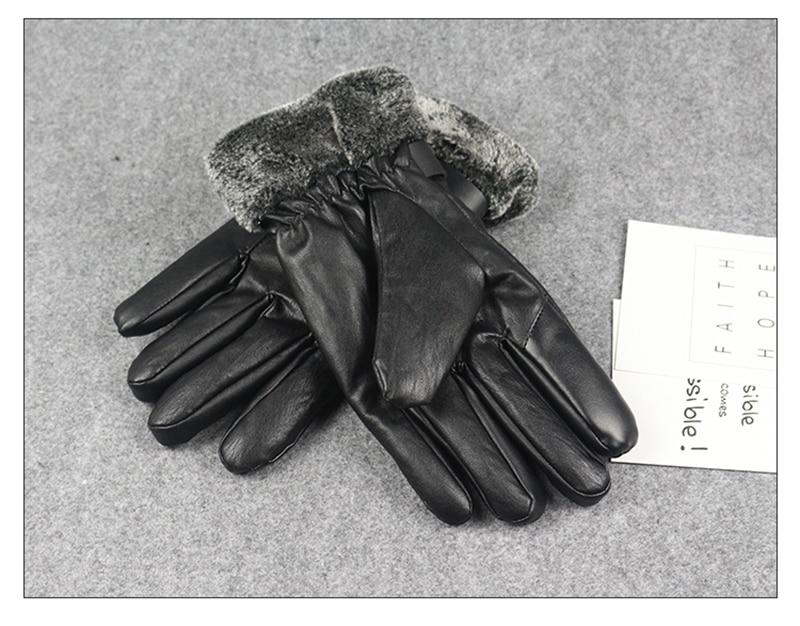 Long Keeper Gloves Men Leather Outdoor Guantes Plus Velvet Winter Keep Warm Gloves Touch Screen Windproof Waterproof Ski Eldiven Apparel Accessories