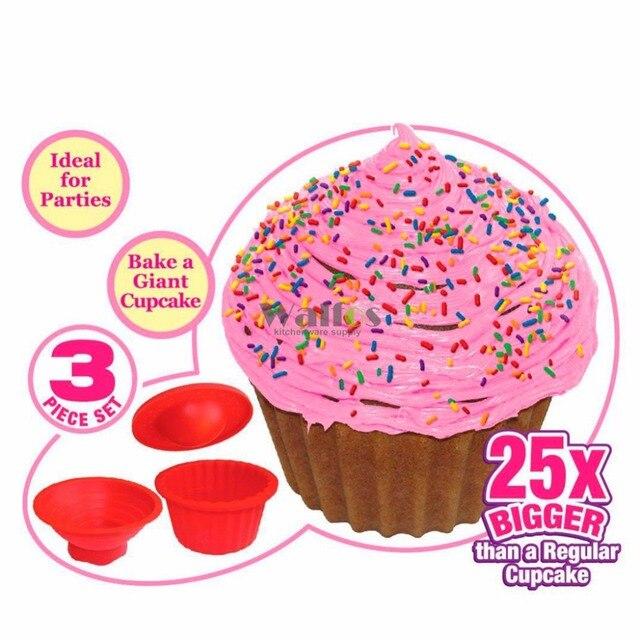 Giant Cupcake Mold 3 Pcs Big Top Cupcake Silicone Mould Heat