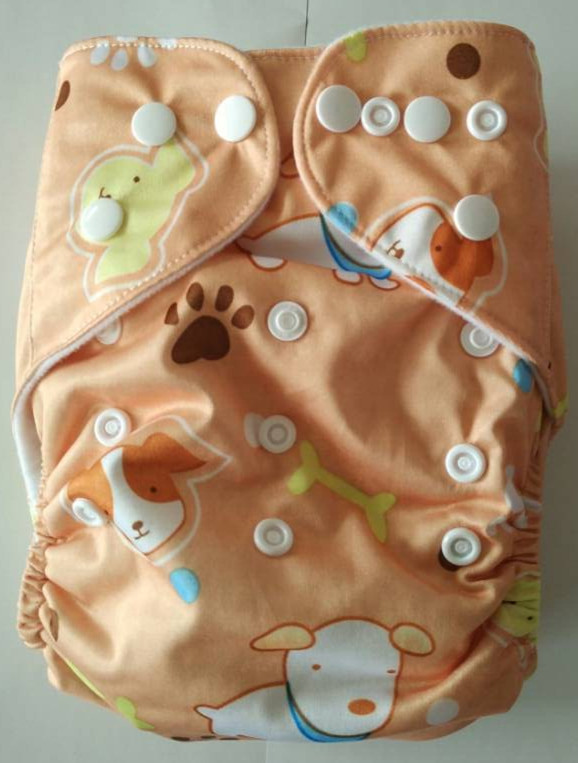 Prined Baby Infant Cloth Diapers Reusable Waterproof Nappy pocket Elastic Waist nappies Diaper With Microfiber Inserts 60 sets