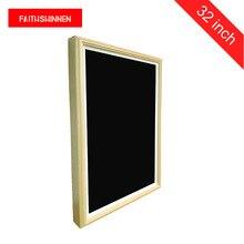 32 polegada display digital signage advert player montagem na parede totem digital de madeira moldura da foto