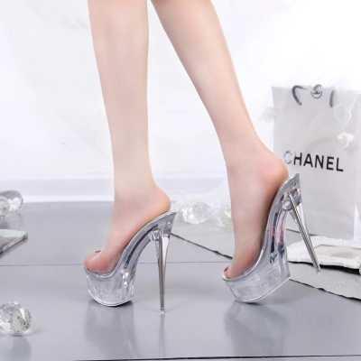 Şeffaf Gümüş Rhinestone Kadınlar Stiletto Ayak Bileği Kayışı Platformu Striptizci Ultra Yüksek Topuk Pompaları Kadın Düğün Fetiş Ayakkabı 3006