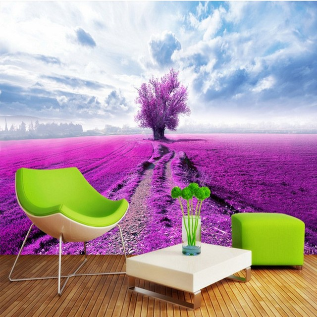 3D photo wallpaper Lavender flowers background wall home decoration ...