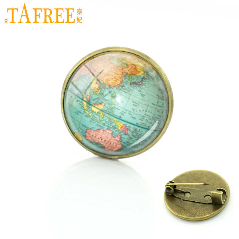 TAFREE Hot selling Earth brooch pins globe world city map jewelry Glass tile pins New York Boston map badge for men women D724