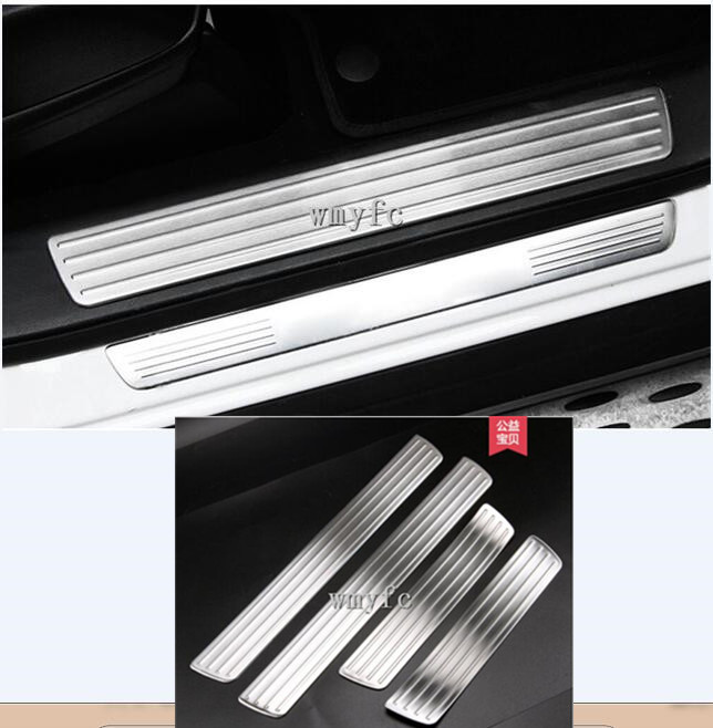 Car-Styling Door Sill Scuff Plate Welcome Pedal Trim Cover For <font><b>Mercedes</b></font> <font><b>Benz</b></font> <font><b>GL</b></font> GLS <font><b>X166</b></font> ML GLE W166 4pcs Sticker <font><b>Accessories</b></font> image