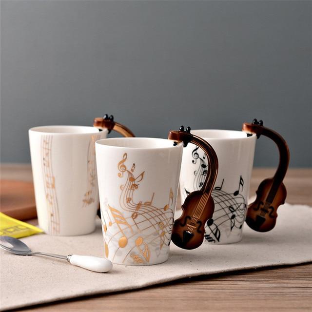 Mới lạ guitar chén gốm personality nhạc lưu ý nước trái cây sữa lemon mug coffee tea cup văn phòng nhà drinkware quà tặng độc đáo