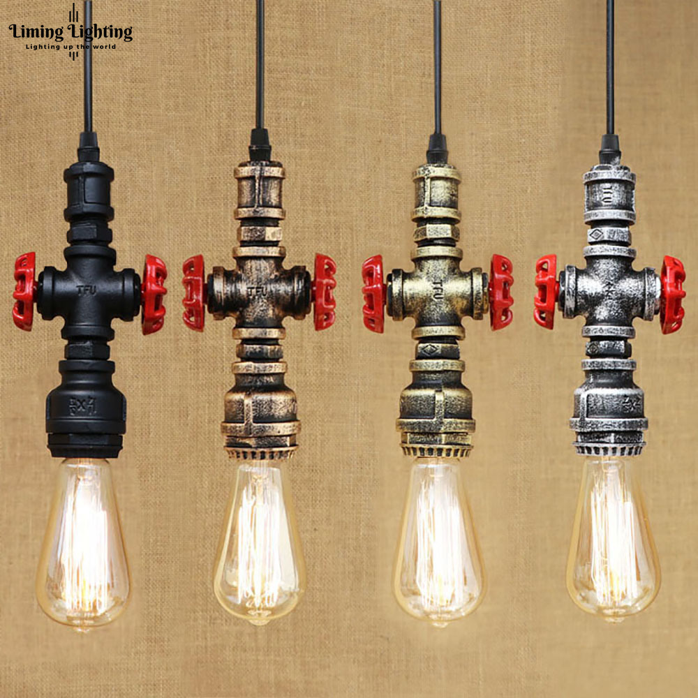 4 style Loft industrial Iron water Pipe steam punk Vintage pendant lamp cord E27 led lights for personalized bar restaurant cafe 4 color loft industrial iron water pipe vintage pendant lamp cord e27 antique rust lights for personalized cafe bar dining room