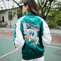 TREND Setter 2017 Fashion Spring and Autumn Bomber Jacket For Women Cranes Bird Embroidery Green Casual Jacket Coat Outwear 1854
