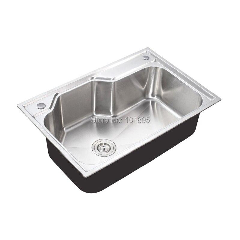 SUS304 Steel Single Bowl 750*500*230MM Kitchen Sink X26110 - 2