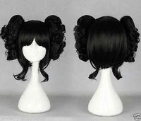 New wig Cosplay Short Black Wig + Two Ponytails