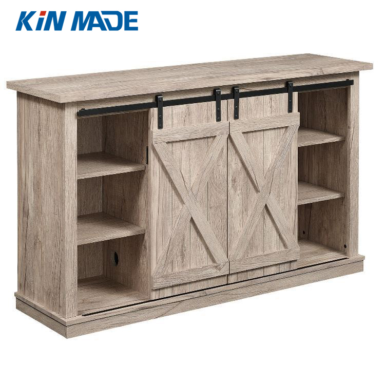 Kinmade Wooden Cabinet Sliding Barn Door Hardware Mini Barn Door Track Kit DIY TV Stand Console Tool(double door) diyhd 39 wooden cabinet sliding barn door hardware mini barn door track kit to hang 1 door