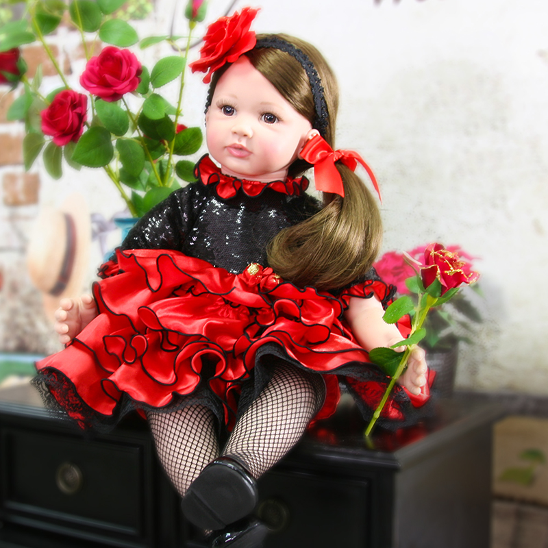 Pursue 24/60 cm New Vinyl Silicone Reborn Toddler Princess Girl Baby Doll with Brown Hair Rose Headband Birthday Gift for Girls new fashion design reborn toddler doll rooted hair soft silicone vinyl real gentle touch 28inches fashion gift for birthday