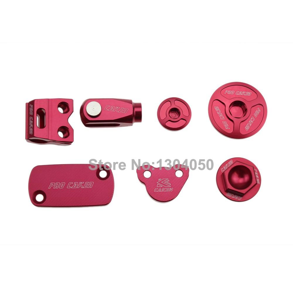 CNC Billet Part Pack Rear Brake Clevis+Brake Reservoir Cover + Brake Hose Clamp+ Engine Plugs CRF250R 250X 450R 450X Red cnc billet part pack rear brake clevis