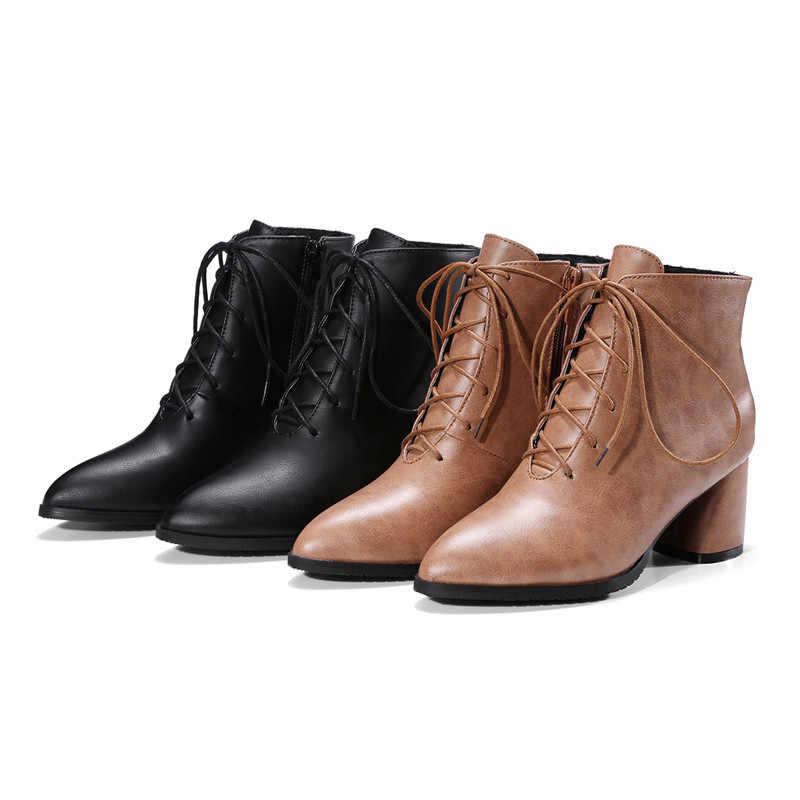 MoonMeek ใหม่แฟชั่น 2020 ขายร้อนฤดูใบไม้ร่วงฤดูหนาวรองเท้า elegant lace up ข้อเท้ารองเท้าบูทขนาดใหญ่ 33-47 pu หนังผู้หญิงรองเท้า