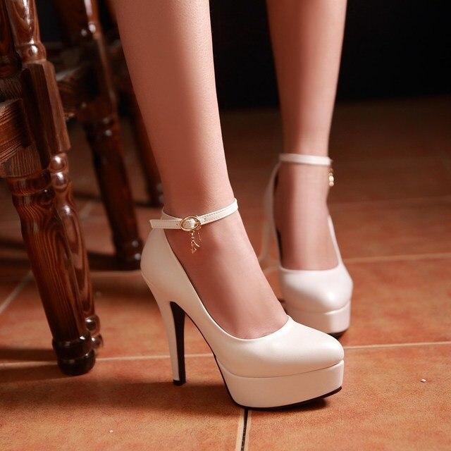 Плюс размер 34-43 высокий каблук женской обуви пряжки круглый носок насосы платформы сексуальный высокие каблуки партии обувь теннис женщина для женщин каблуки
